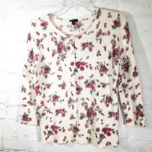 Talbots Wild Roses Cardigan, wool and angora blend